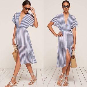 Reformation Positano Blue & White Striped Dress LG